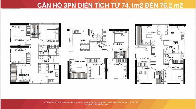 Thiết kế căn hộ 3 phòng ngủ vinhomes smart city