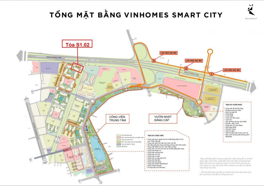 Vị trí tòa S1.02 Vinhomes Smart City