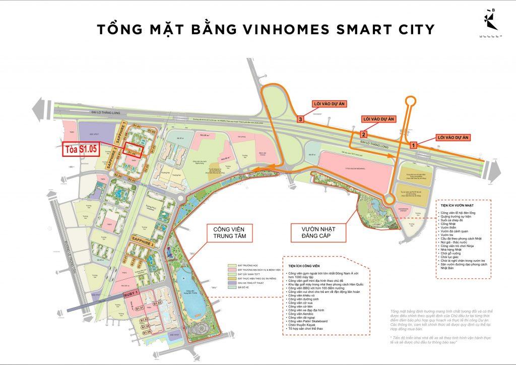 Vị trí tòa S1.05 Vinhomes Smart City
