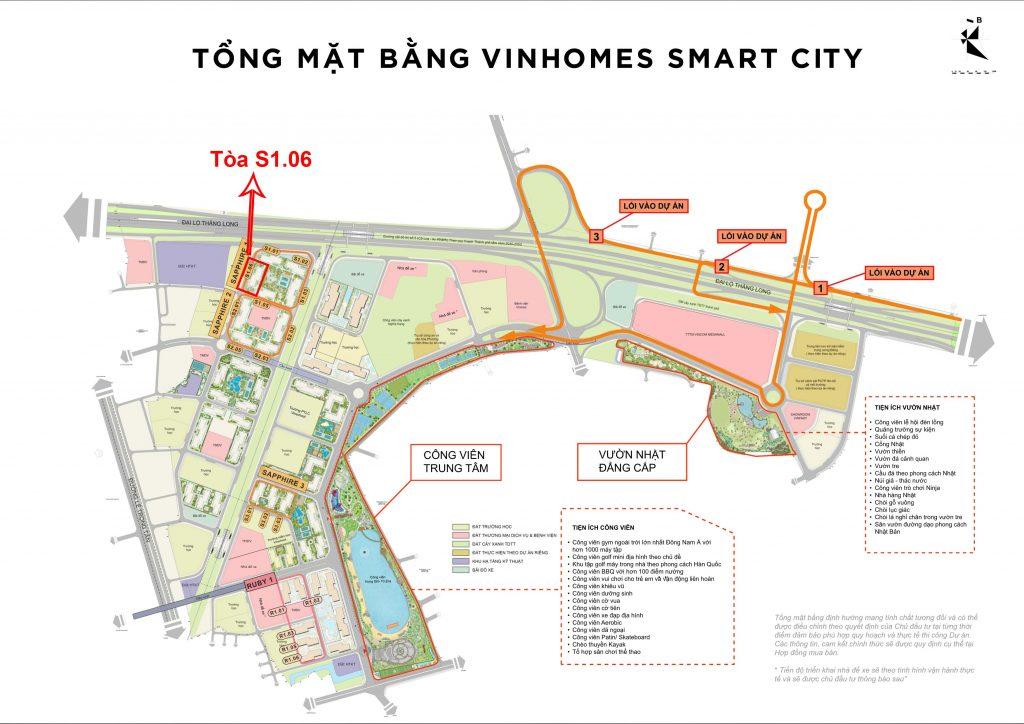 Vị trí tòa S1.06 trên mặt bằng tổng thể đại đô thị Vinhomes Smart City
