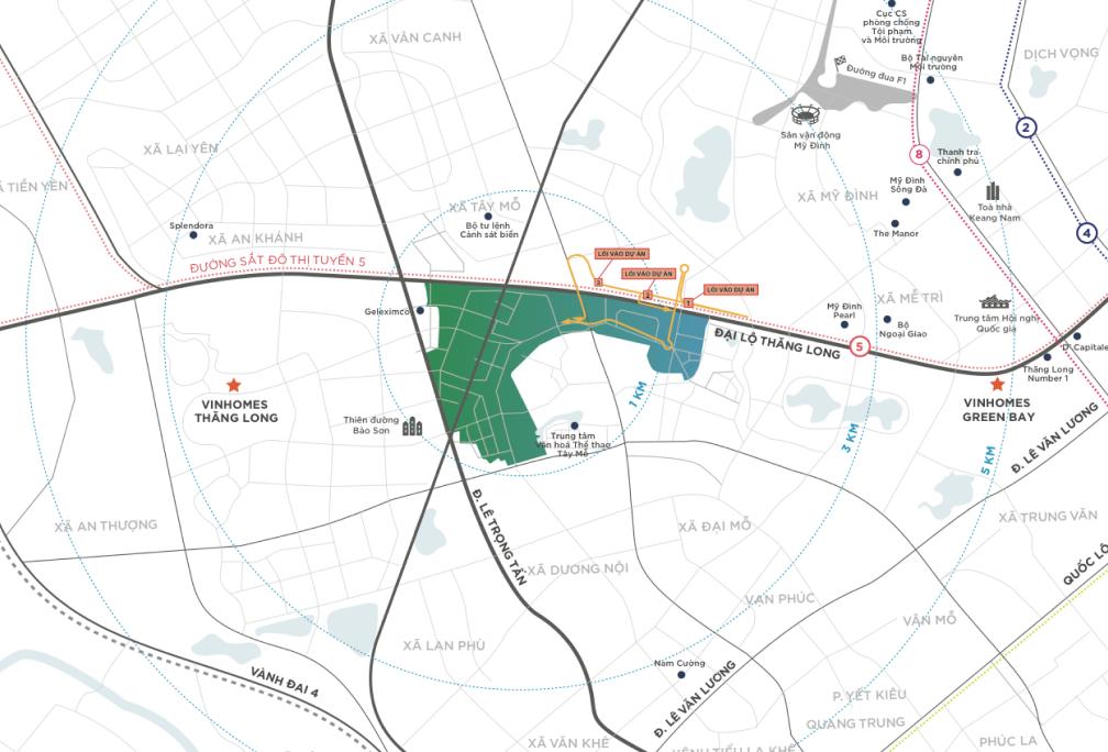 Bản đồ vị trí trung tâm phía tây của khu đại đô thị Vinhomes Smart City
