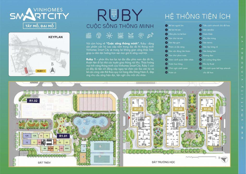Mặt bằng phân khu Ruby 1 Vinhomes Smart City