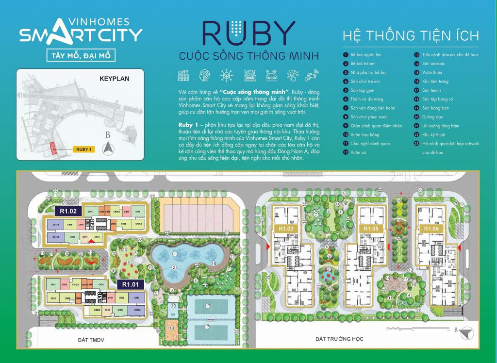 mặt bằng vinhomes smart city ruby 1