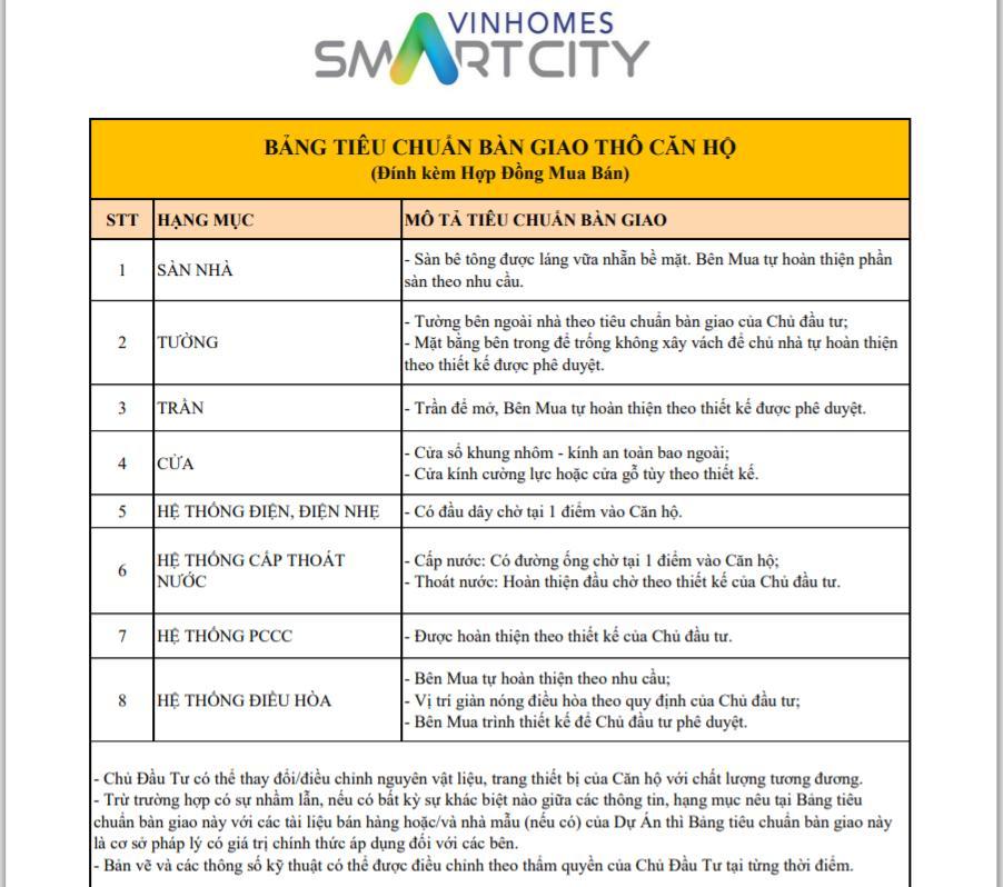tieu-chuan-ban-giao-tho-vinhomes-smart-city