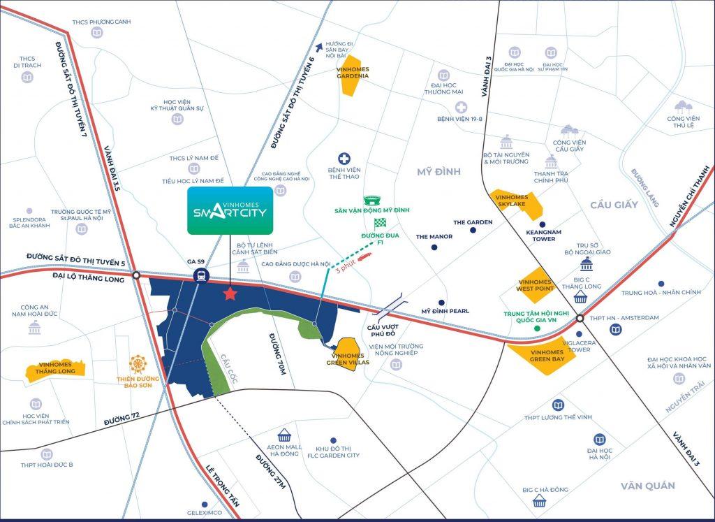 Vinhomes Smart City Tây Mỗ Đại Mỗ sở hữu vị trí vàng đắt giá trên Đại Lộ Thăng Long